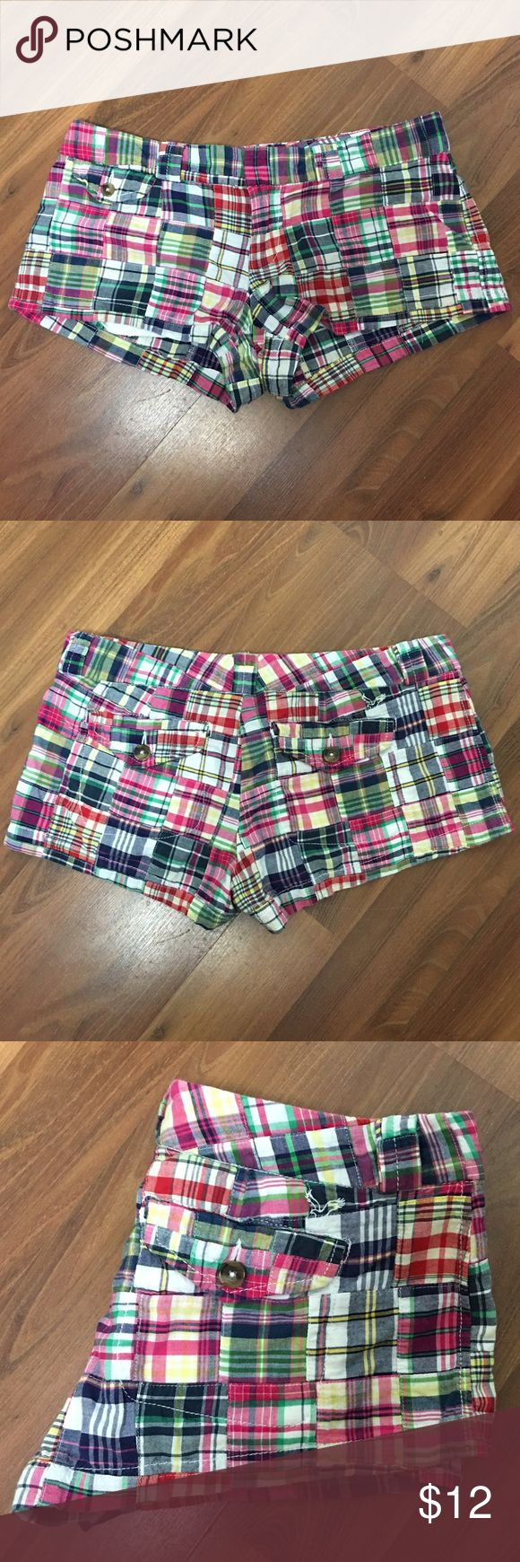 """American Outfitters plaid Favorite Shirts American Outfitters plaid Favorite Shirts. Waist 32"""", Rise 7 1/2"""". Three pocket design with single button, slide hook and zipper closure. American Eagle Outfitters Shorts"""