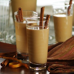 "Cola de Mono (Chilean egg nog)   5 cloves, 2 sticks of cinnamon   125ml water, 60ml Instant coffee, 180ml sugar, 2 liters milk, 325ml ""Agua ardiente"" (can be replaced by Pisco, Rhum,  Brazilian Cachaça or Brandy)  Boil the water with the cloves and cinnamon sticks for 10 minutes with the lid on. Add the instant coffee and the sugar. Mix that syrup with the milk and add alcohol. Keep it bottled in the refrigerator (10days). Serve very cold but without ice.This is my easy version."