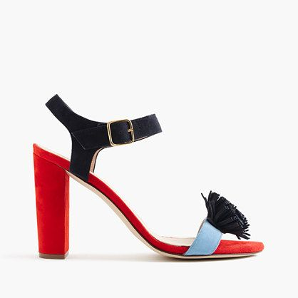 "There's nothing better than a high-heeled colorblock shoe for spring—except for one that's made in Italy with playful pom-poms, like these.  <ul><li>3 5/8"" heel.</li><li>Suede upper.</li><li>Leather lining.</li><li>Import.</li></ul>"