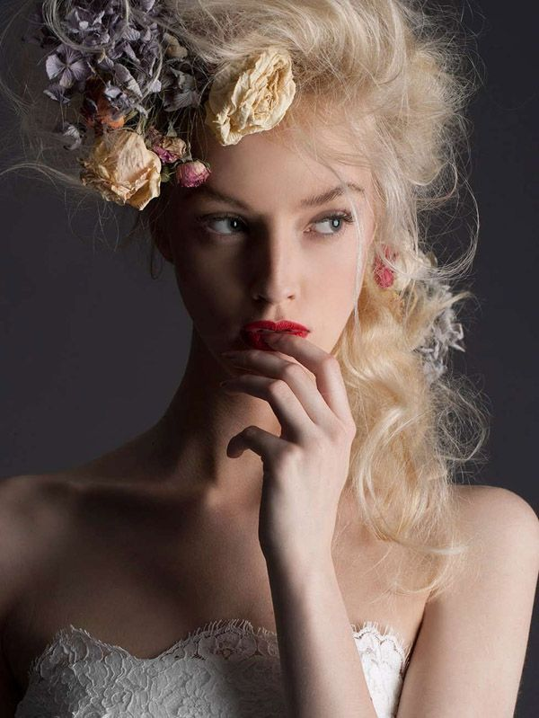 Hair and makeup from the Cymbeline Paris, 2014, Bridal  Floral Headpiece (dried flowers & Real)????