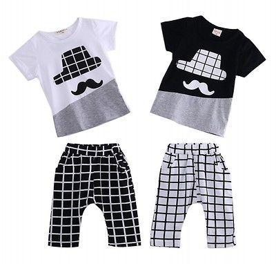 Baby Boy Moustache Shirt & Shorts