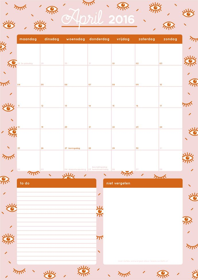 Free printable month planner april 2016 (in dutch).