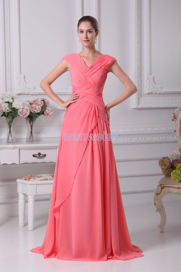 Plus Size Floor Length Red V-neck Chiffon Bridesmaid Dress With Crisscrossed(ZJ5727)