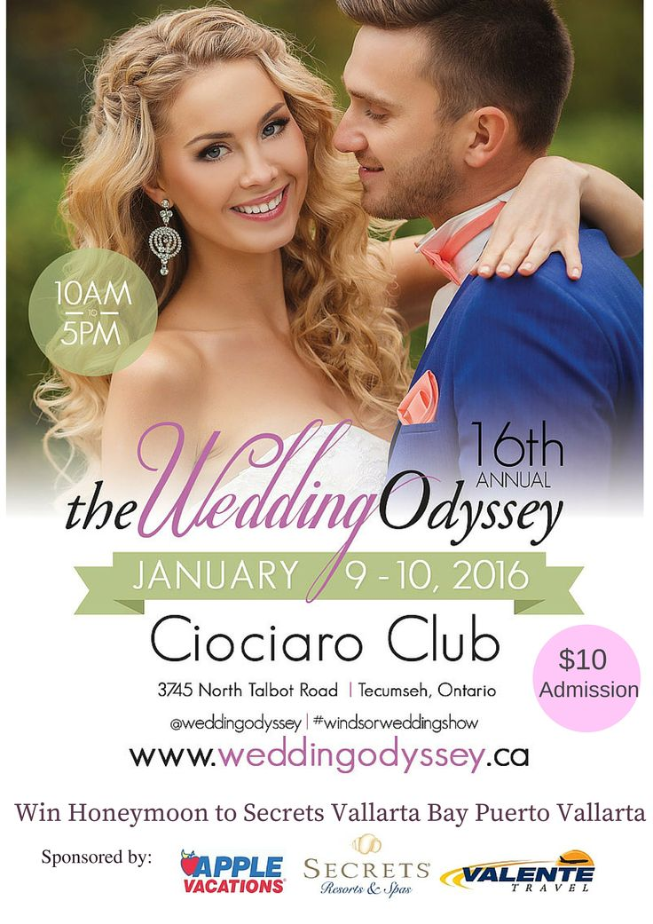 Wedding Odyssey expo on Jan 9 & 10, 2016 @ Ciociaro Club.  Engaged couples have a chance to win a 7 night honeymoon stay to Puerto Vallarta, Mexico at the beautiful Secrets Vallarta Bay Puerto Vallarta.  Trip sponsored by Secrets Vallarta Bay Puerto Vallarta, Apple Vacations and Valente Travel.  Must visit the Valente Travel booth at the Wedding Odyssey for your chance to win.