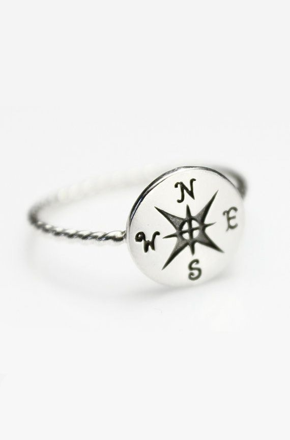 Compass Ring Sterling Silver Ring Silver