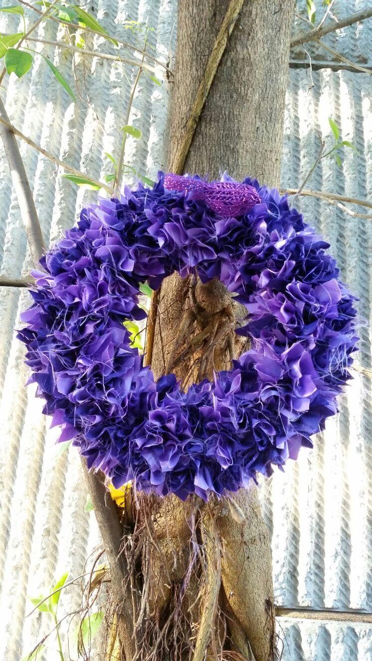 """12"""" dark purple & lilac satin scrappy xmas wreath"""