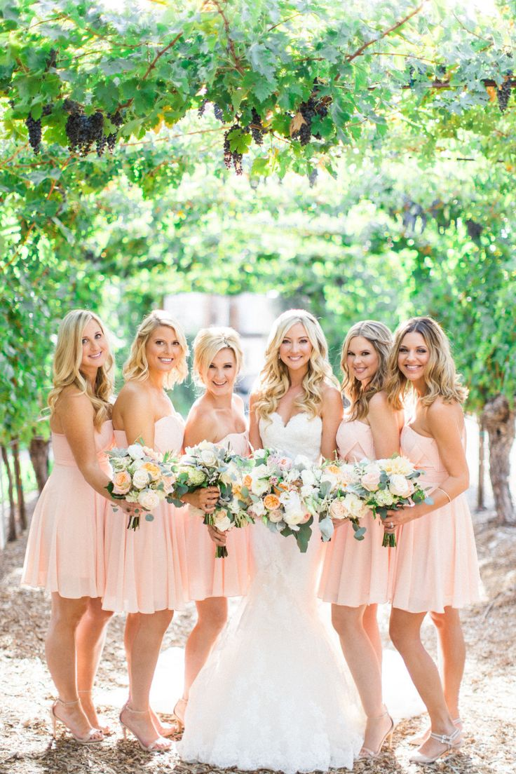 Blush spring bridesmaids: Photography : Aga Jones Photography Read More on SMP: http://www.stylemepretty.com/little-black-book-blog/2016/03/29/rustic-elegant-winery-wedding-filled-with-diy-details/