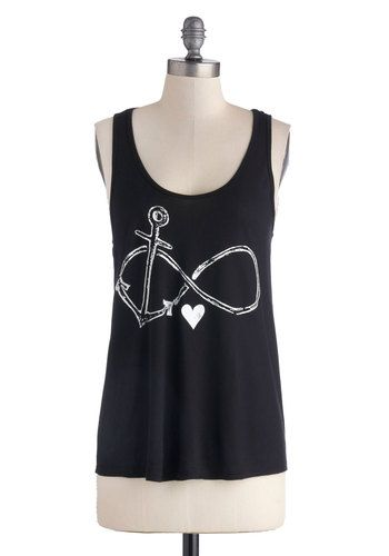 Falling Infinite Love Top - Black, Novelty Print, Tank top (2 thick straps), Good, Jersey, Knit, Mid-length, White, Casual, Nautical, Racerback, Scoop