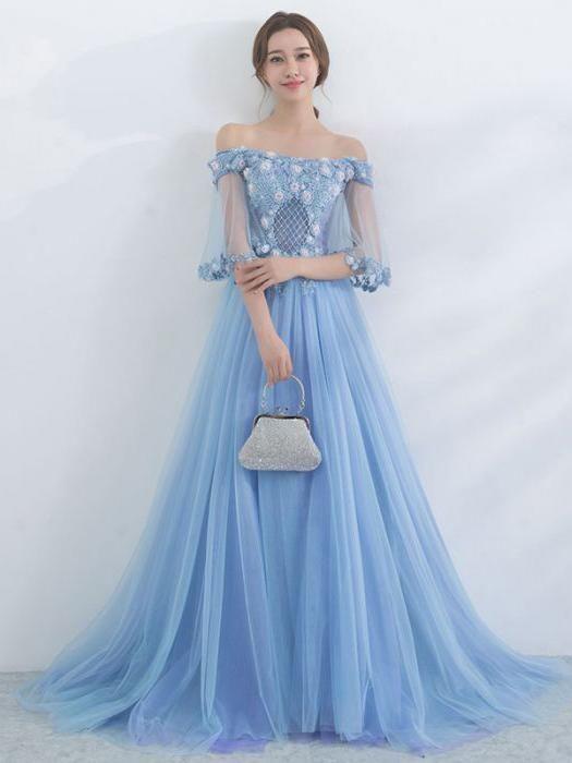 Off Shoulder Prom Dress, Blue Tulle Long Evening Gown #promdress ...