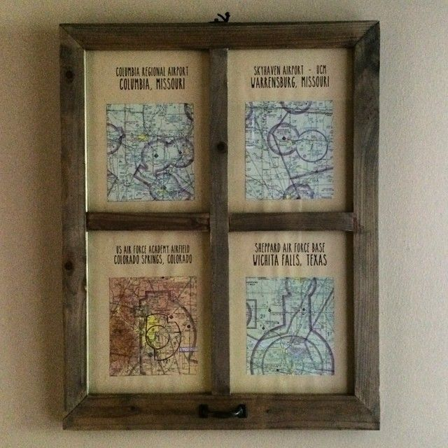 Aviation Sectional Charts framed in wood - perfect pilot gift! #aviation #pilot #flight #flying