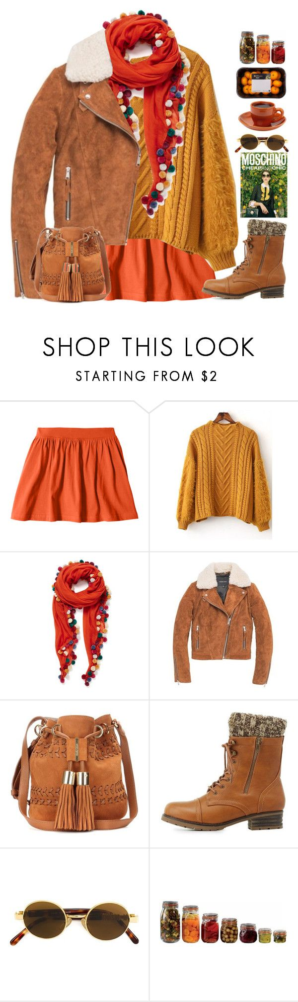 """""""Mandarin"""" by doga1 ❤ liked on Polyvore featuring Jane Carr, Andrew Marc, See by Chloé, Charlotte Russe, Moschino Cheap & Chic, Moschino and Artis"""