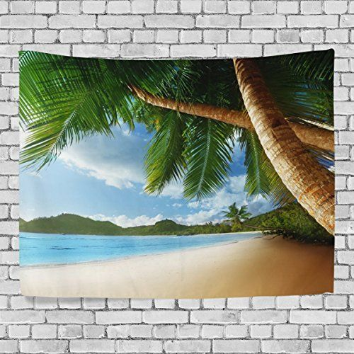 MRMIAN Tropical Beach Decor Coconut Palms and Shadows on Beach Sea Plants 5Bedroom Living Kids Girls Boys Room Dorm Accessories Wall Hanging Tapestry 60x51in -- See this great product.
