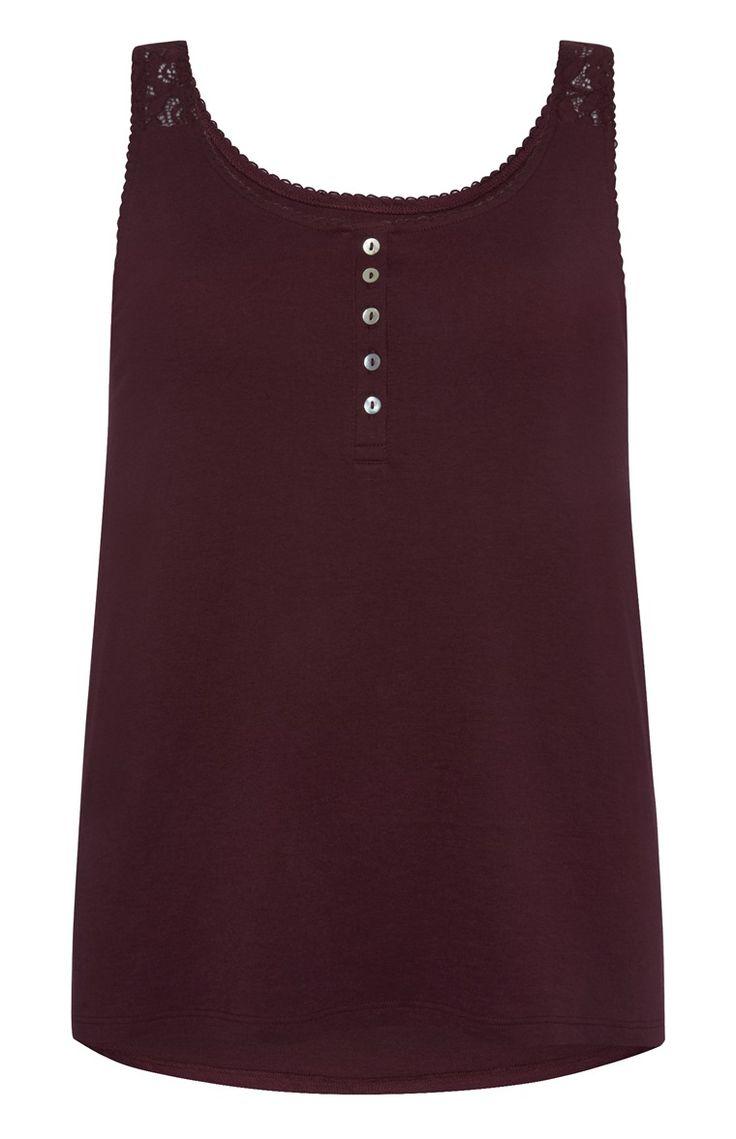 Primark - Burgundy Lace Shoulder Pyjama Vest - £3.50