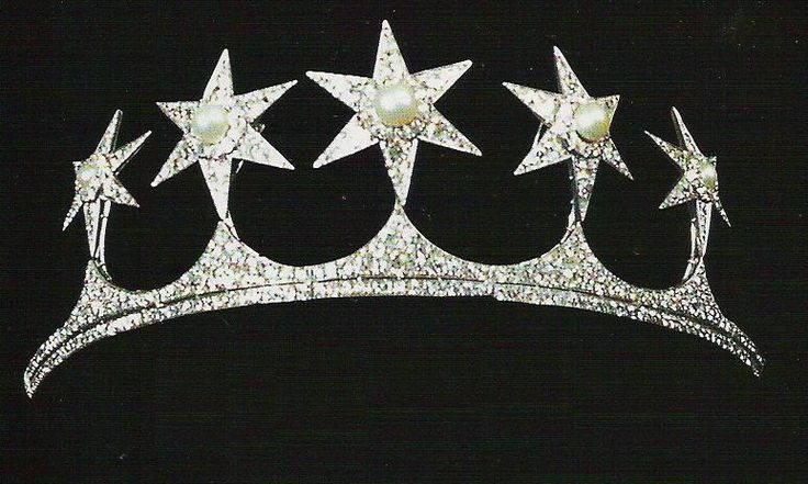 The Mountbatten/Battenburg family tiara, designed as five diamond stars with button pearl centres rising from a diamond band.  Queen Victoria's granddaughter, also called Victoria, married Prince Louis of Battenburg on 30th April 1884. Prince Louis decided to  make his family surname more English and changed it to Mountbatten, and he became First Sea Lord and was granted the title Marques of Milford Haven in 1917.