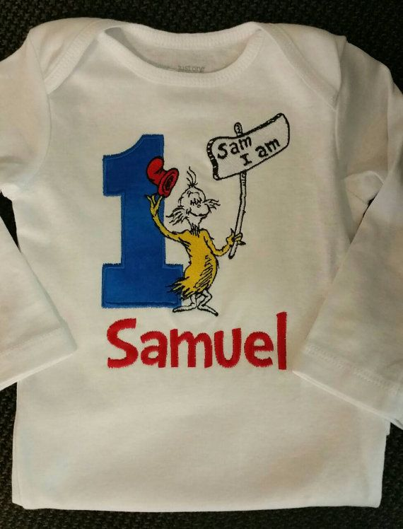 Embroidered personalized Sam I am onesie.