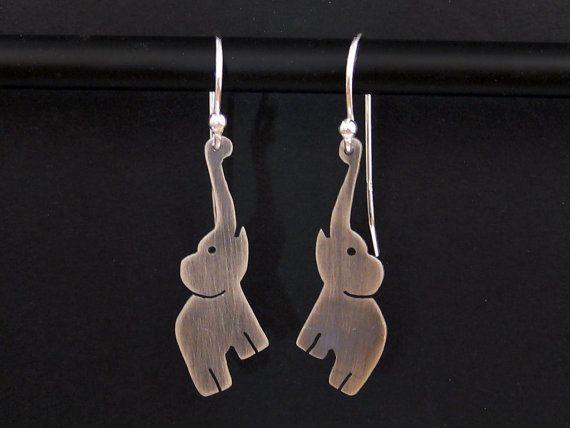 Silver Elephant Earrings - 925 African Elephant Jewelry -  Quirky African Earrings - Safari Jewelry