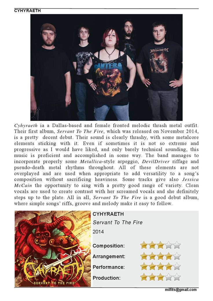"""Cyhyraeth  """"Servant To The Fire"""" Review (Milfits 'zine)"""