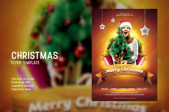 Promote your upcoming Christmas event by this eyecatching Christmas flyer.This flyer is very easy to use.Everything are editable, attractive design, free fonts used, high resolution, CMYK color mode and ready for print.Available in 2 size, A4 & 4x6 flyer with bleed in each side. #creativemarket #template #photoshop #flyer #poster #advertising #christmas