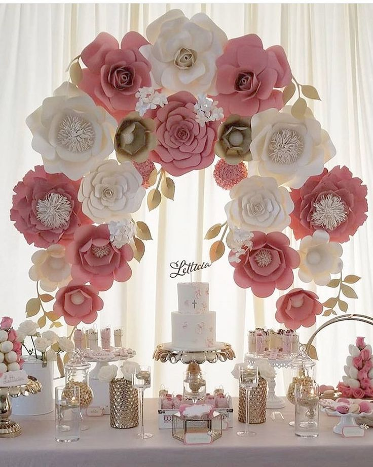 Holy Communion Paper flower backdrop | First communion ...