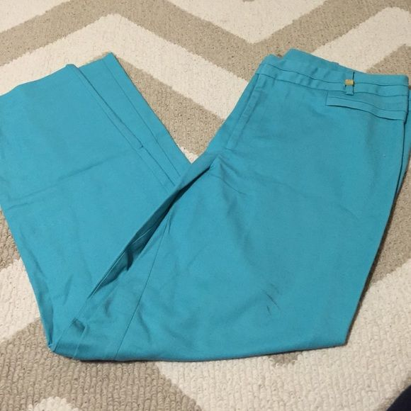 Teal pants CK. Has a spot on them. Idk what it's from. May come out in wash!? Calvin Klein Pants