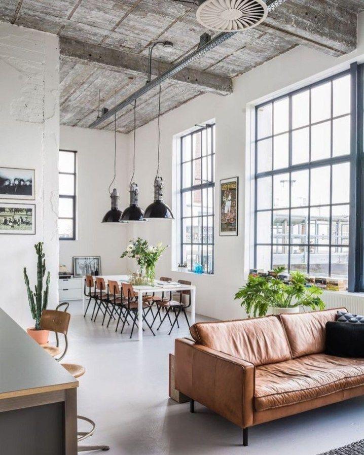Stunning Industrial Style Living Room Design Ideas 06 House Interior Interior Loft Design