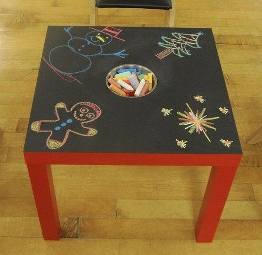 How Do It - Paint table ($7 IKEA) with chalkboard paint, cut hole, insert chalk bin…brilli