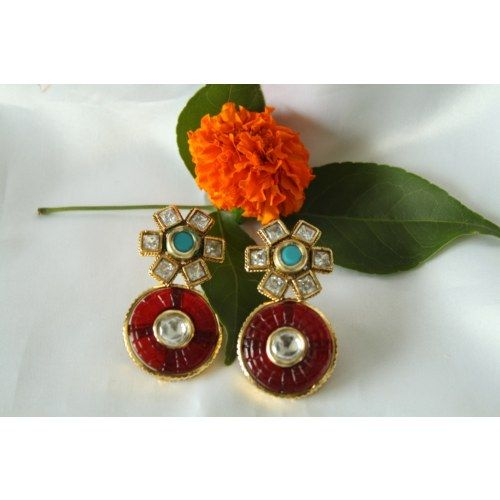 Love the shapes and the stones. Designer Kundan Polki Stones Studs Earrings Jhumkas Danglers: