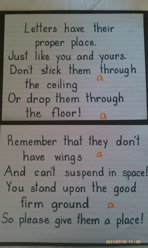 """Letters Have a Place"" rhyme for 1st graders."