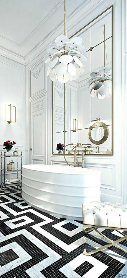Love the black & white tile work. Great detail. Via Debra Hull