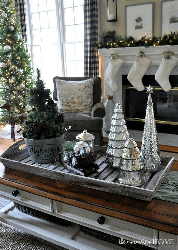 Christmas Decor Nature Inspired Family Room Christmas Decorations