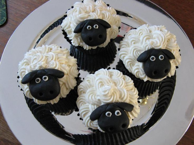 Sheep Cupcakes with fondant faces.