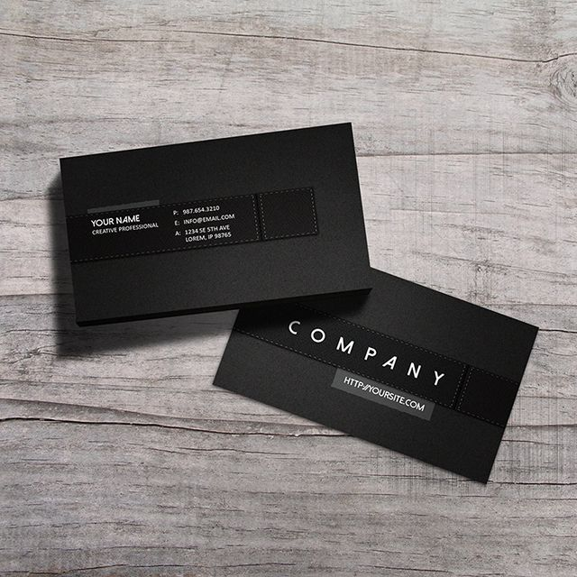 Stylish premium black corporate business card template with clean design, available for download from Graphicriver.