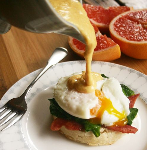 Eggs Benedict: #FastMetabolismDiet style! With dairy-free Hollandaise, poached egg, spinach and turkey bacon. Decadent!