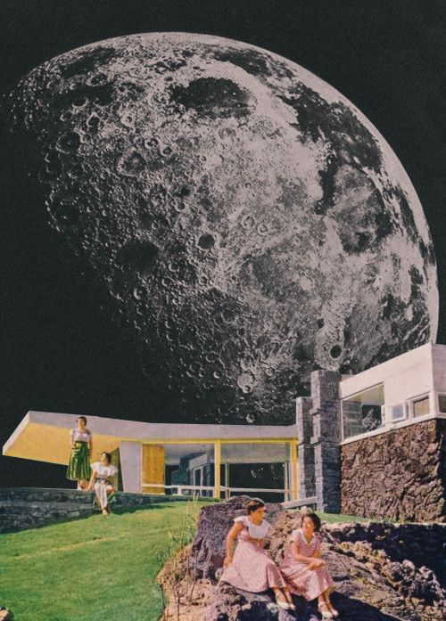 Retro And The Moon. Mixed Media Collage Art By Ayham Jabr.