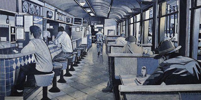 Ian Berry, Denimu tekeningen -  the drawing is made out of old jeans!  http://www.spijkerbroeken.nl/nieuws/tekenen-met-spijkerbroeken