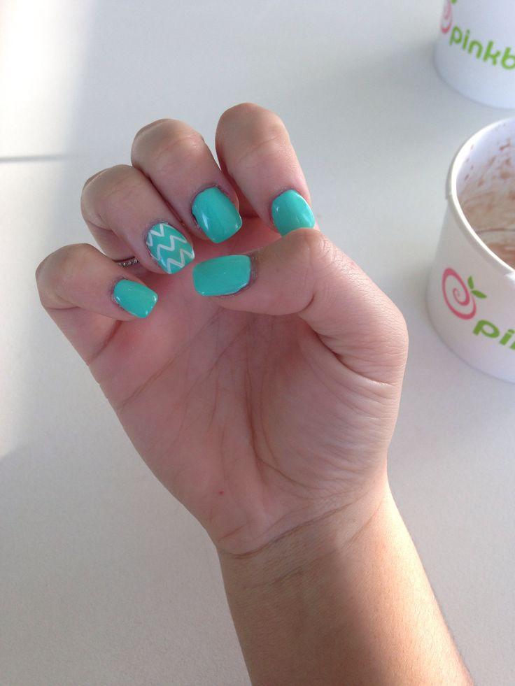 Tiffany blue chevron nails