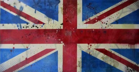 """Union Jack"" by Daniel Bombardier.  Mixed Media on Wood Panel"