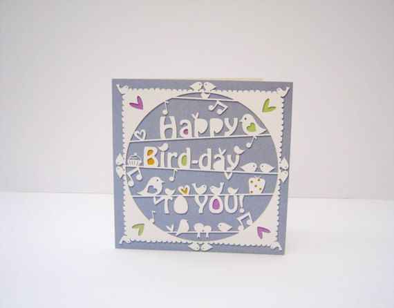 Happy Birdday papercut style square greeting card. by PocketWren, £2.50