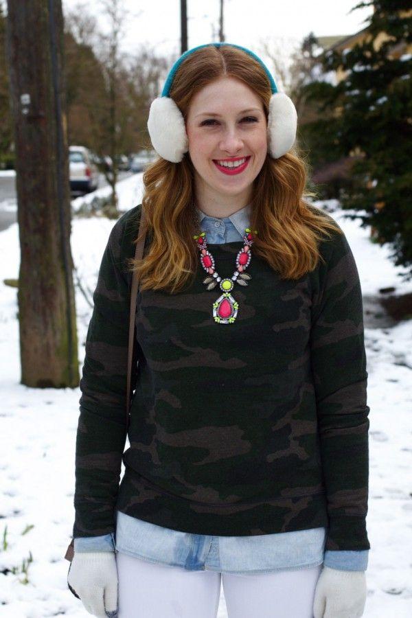 "Alyson of ""Crushing on Clothes"". http://www.crushingonclothes.com/ #Seattle #WestCoast #styleblogger #fashionblogger #fashionblog #fashion #style #beautyblog #chambrayshirt #earmuffs #camouflage"