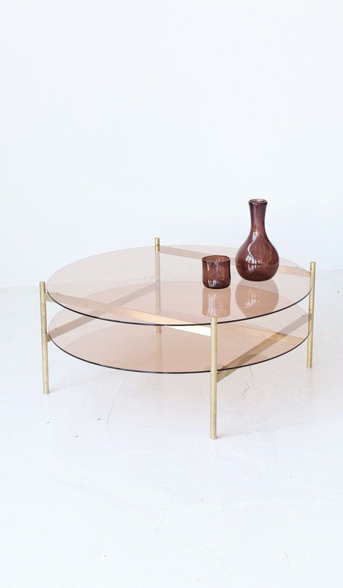 Yield Rose Glass and Brass Coffee Table