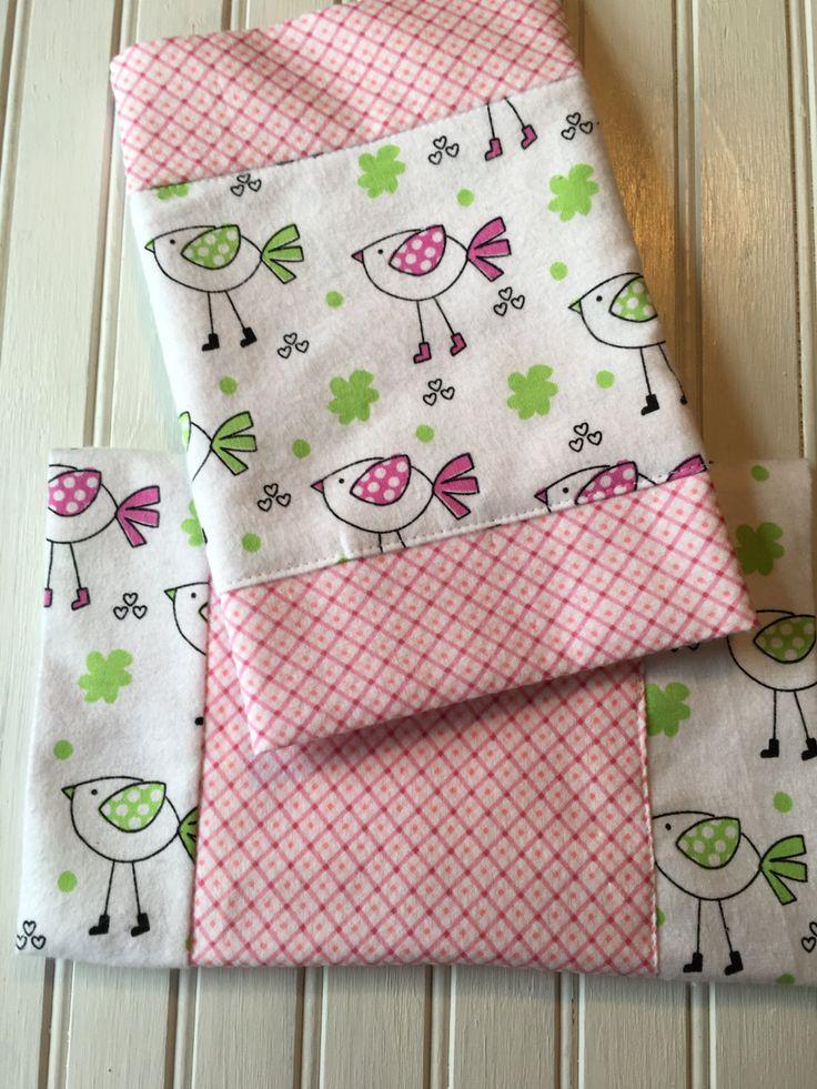 2pk Pink Birdie Burp Cloths by 5BlueberryLane on Etsy