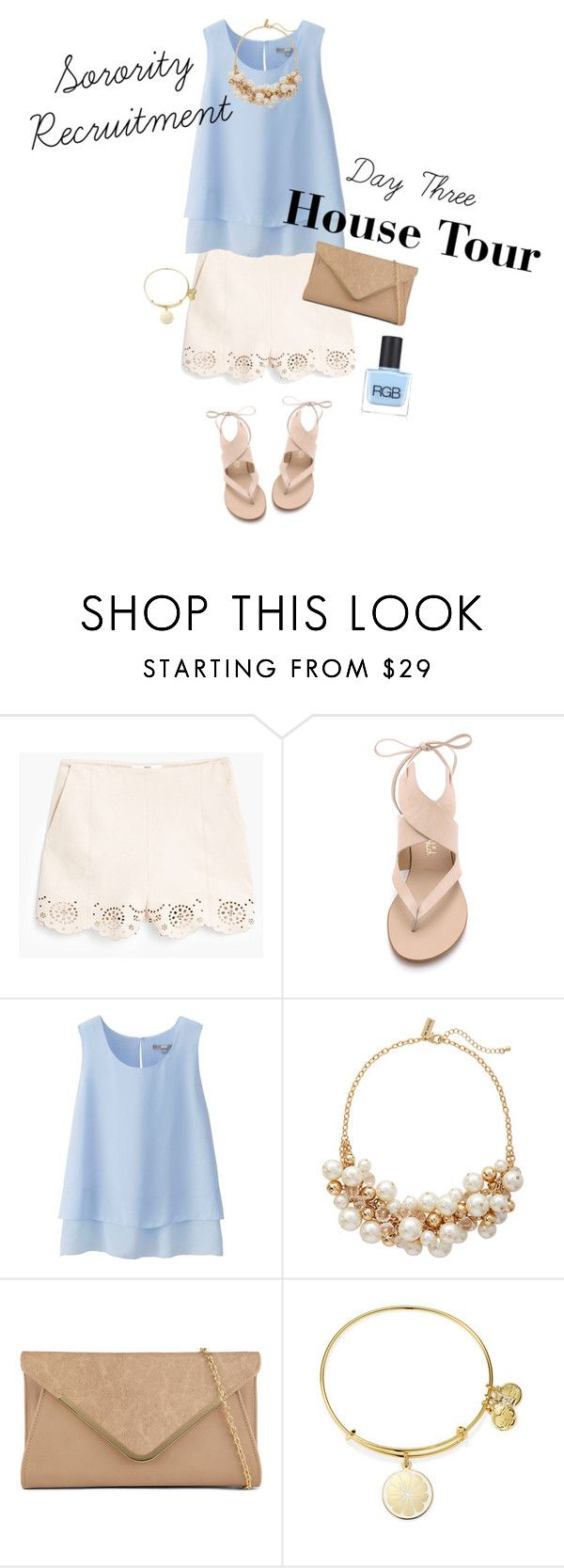 """Sorority recruitment: house tours"" by emichance ❤ liked on Polyvore featuring MANGO, Splendid, Uniqlo, The Limited, ALDO, Alex and Ani and RGB Cosmetics"