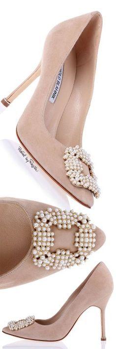 Manolo Blahnik ~ Suede High Heel Pumps, Dusty Rose w Pearl embellishment