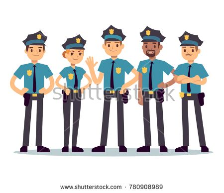 Stock Vector: Group of police officers. Woman and man cops vector characters. Police cop and officer security in uniform illustration -