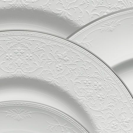 Wedgwood English Lace...Select a plain setting at registry. Layer with patterned or seasonal salad plates for a festive table.