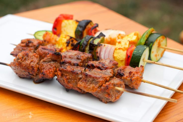 Paleo Beef Kebabs (tomato paste and orange juice marinade with rosemary and garlic)