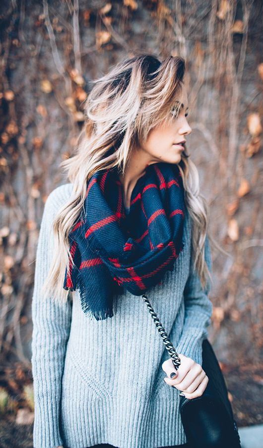 gray knit + navy & red plaid scarf