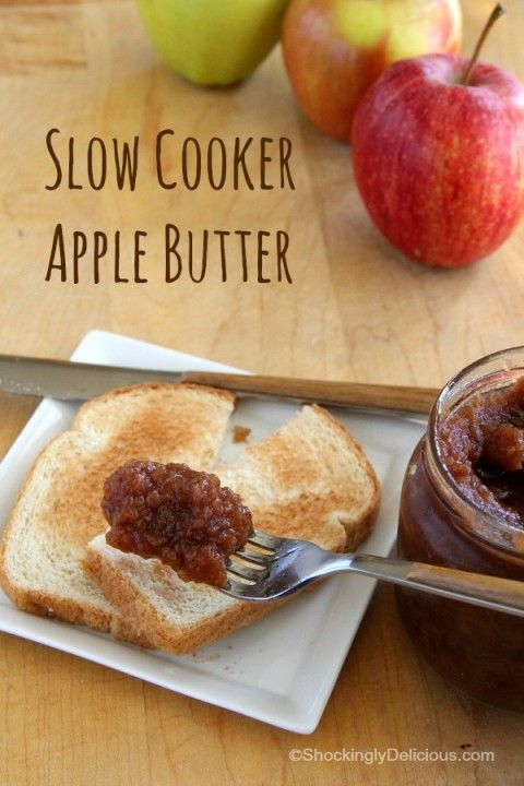 So easy it makes itself! Slow Cooker Apple Butter | Spiced Crock-Pot Apple Butter Recipe | ShockinglyDelicious.com #SundaySupper