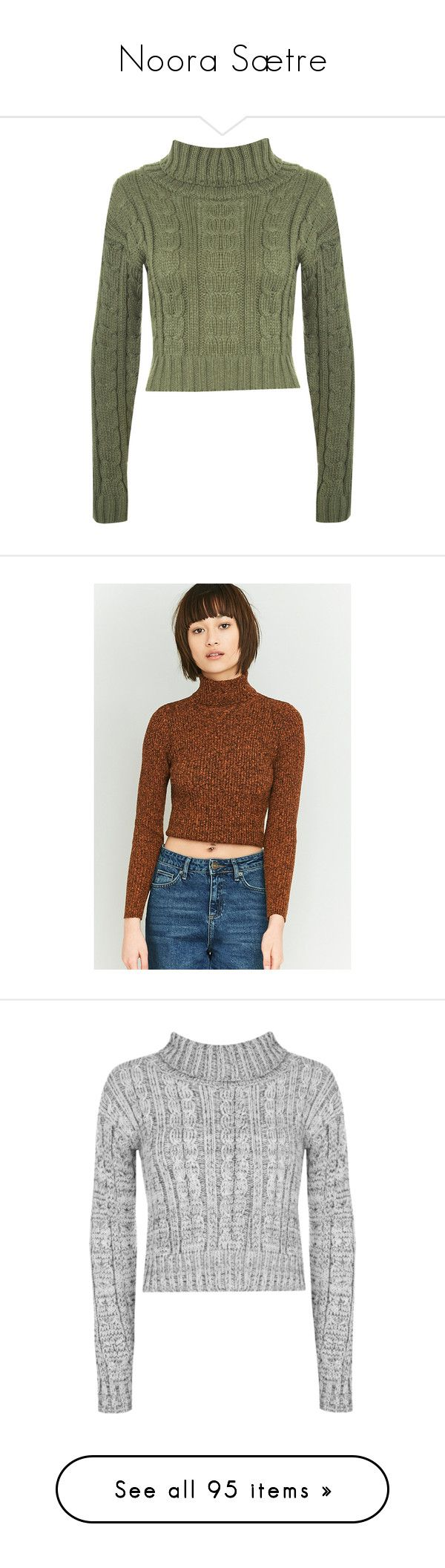 """""""Noora Sætre"""" by anna-gummerus ❤ liked on Polyvore featuring tops, sweaters, jumpers, shirts, 2016 sweater, green, cropped turtleneck sweater, chunky turtleneck sweaters, cable-knit sweater and chunky cable knit sweater"""