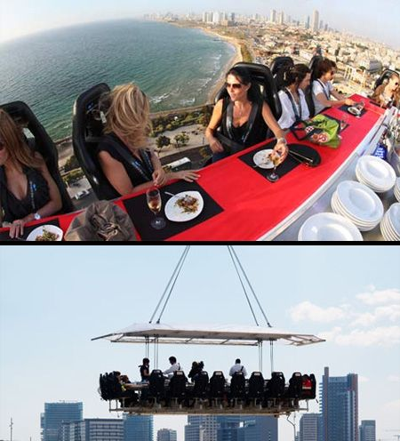 Dinner in the Sky.  Dinner in the Sky is hosted at a table suspended at a height of 50 metres. It accommodates 22 people around the table with three staff members in the middle (chef, waiter, entertainer).